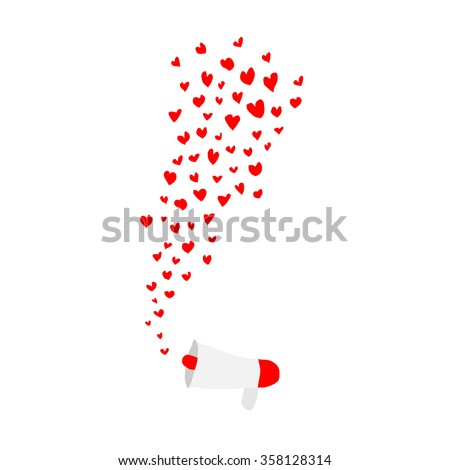 hearts shape flying out frome megaphone on white background - stock vector