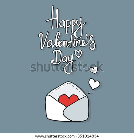 Hearts take off from  inside open envelope, concept love, Valentine Day. Vector - stock vector