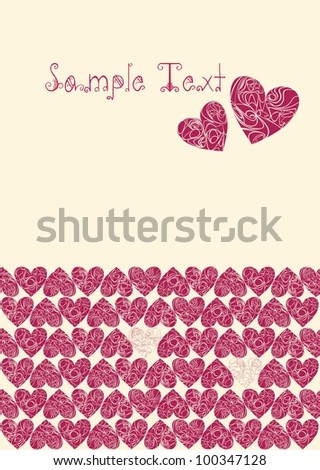 hearts to half a page with the top two lonely hearts - stock vector