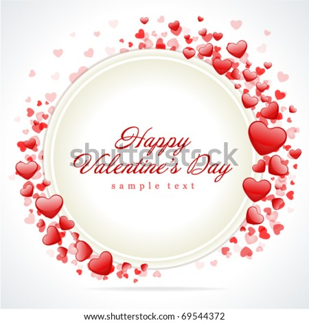 Hearts with card frame Valentine's day vector background - stock vector