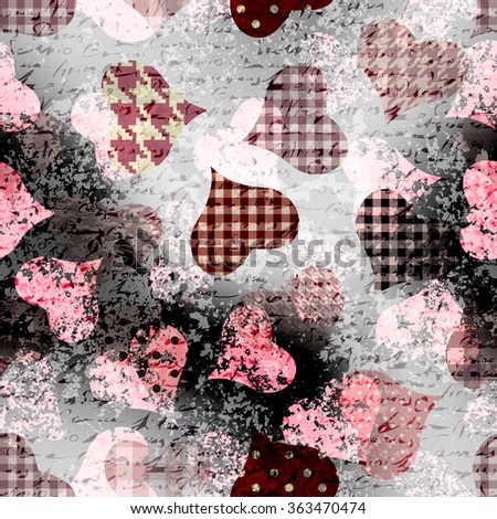 Hearts with the grunge effects on black background. Seamless pattern. - stock vector