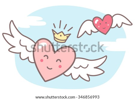 Hearts With Wings And Funny Smiling Faces Sky Clouds Valentines Day Vector Illustration