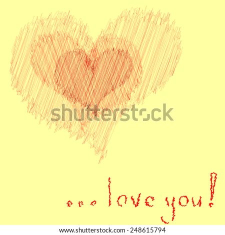 Hearts with words: love you. for Valentines day. Hand drawn. - stock vector