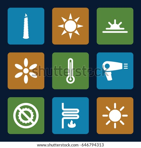 Heat icons set. set of 9 heat filled icons such as hair dryer, sun, sun rise, no brightness, candle, heating system