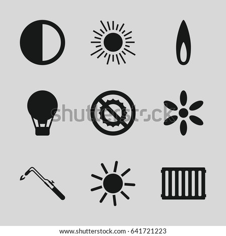 Heat icons set. set of 9 heat filled icons such as sun, blowtorch, no brightness, brightness, flame, radiator