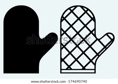 Heat protective mitten. Image isolated on blue background - stock vector