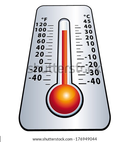 Heat wave. High level mercury thermometer. Vector icon.