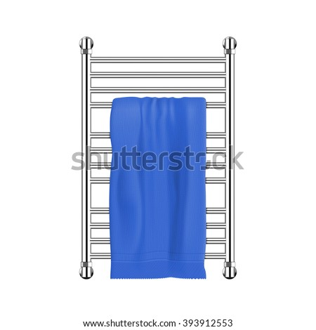 Heated towel rack in polished steel or chrome finish with blue color towel. Isolated on white background.