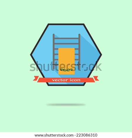 heated towel rail vector icons in the hexagon. flat design - stock vector
