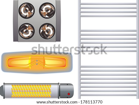 Heater for the bathroom - stock vector