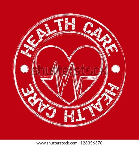 heath care seal with hearth over red background. vector illustration - stock vector