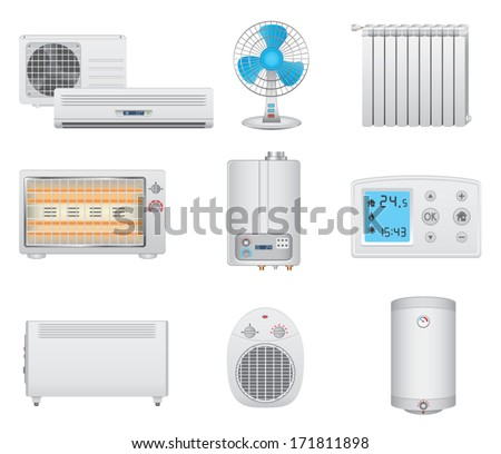 Heating and air conditioning icons - stock vector