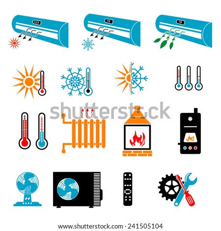 Heating and Cooling Icons - stock vector