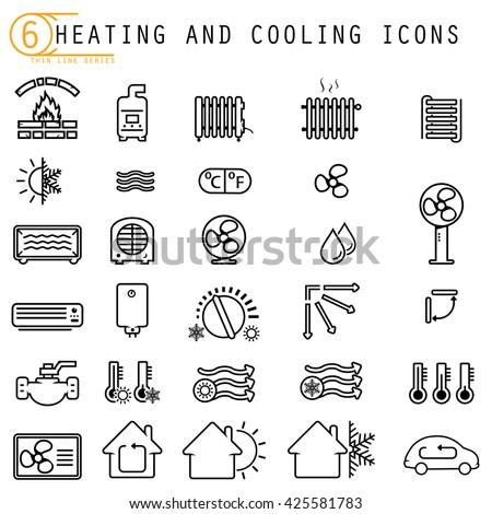 heating cooling icons のベクター画像素材 ロイヤリティフリー