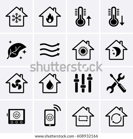 heating cooling icon. heating and cooling icons. hvac (heating, ventilating, air conditioning) technology icon i