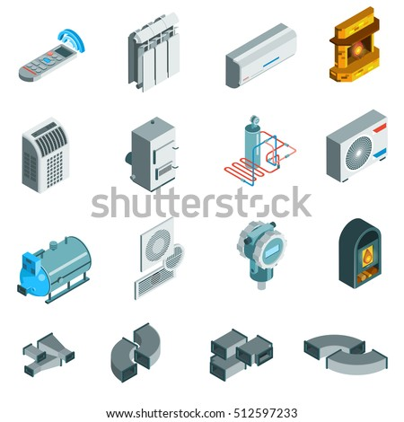 Heating cooling system isometric icons set of different elements in flat style isolated vector illustration