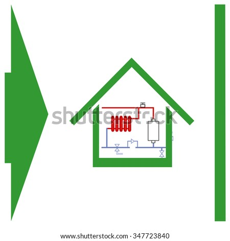 Heating scheme at home vector icon.