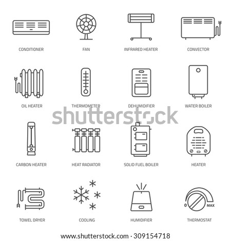 Heating, ventilation and conditioning linear icons set. - stock vector