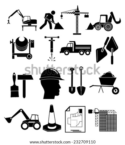 Heavy construction icons set - stock vector