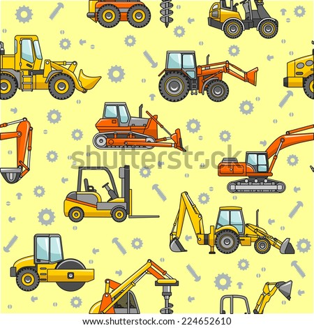Heavy construction machines seamless pattern - stock vector