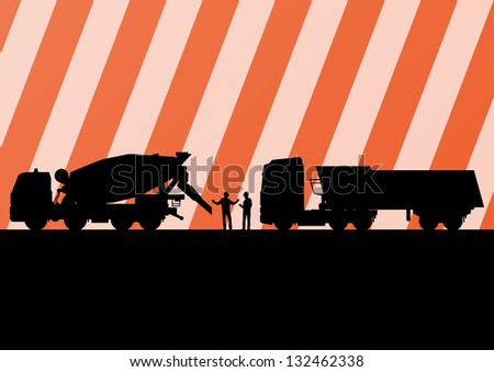 Heavy duty concrete making trucks and tractors in highway roadway construction site landscape illustration background vector - stock vector