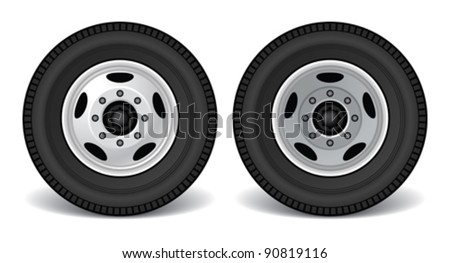 Heavy Duty Truck Rims, Front and Rear - stock vector