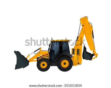 Heavy excavator loader with bulldozer blade over white background