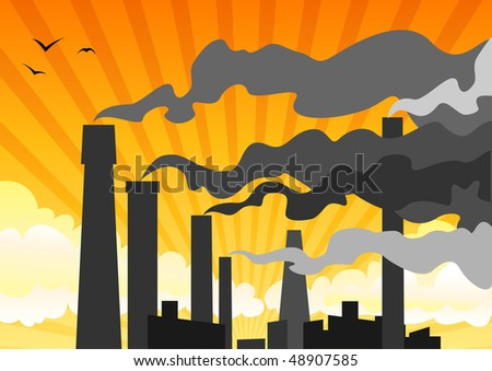 heavy industrial smog - stock vector