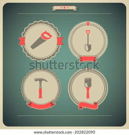 Heavy industry theme - construction site tools -   Hand saw, Shovel (Spade), Hammer, Paintbrush.  - stock vector