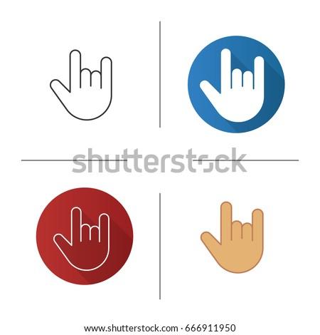 Heavy Metal Gesture Icon Flat Design Stock Vector Royalty Free