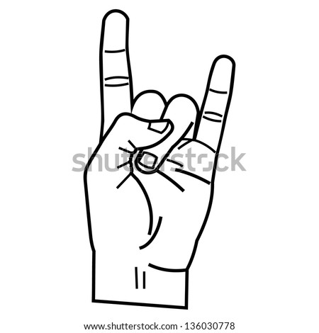 heavy metal hand linear style - stock vector