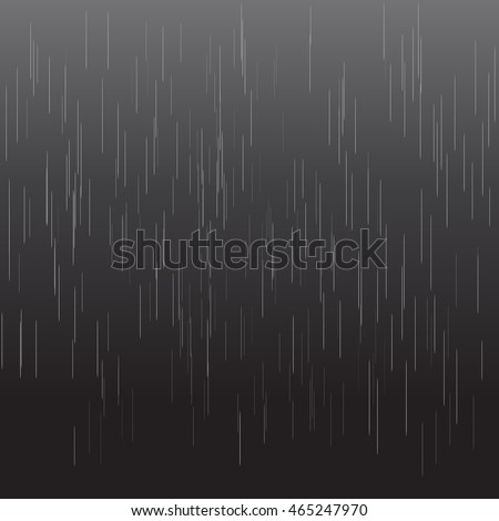 Heavy rain vector texture isolated on black background. Realistic rainy night illustration with dark and light colors. Rain drops on black. Spring autumn vector rain drops concept.