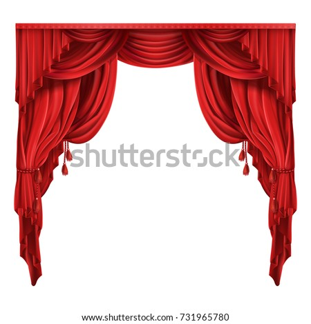 Heavy red curtains or drapes in victorian style gathered with tassels rope  realistic isolated vector illustration