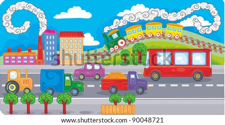 heavy traffic in the city painted - stock vector