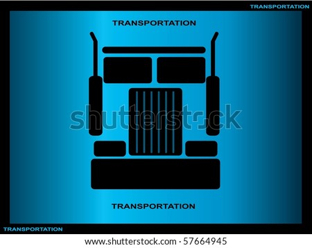 Heavy truck silhouette on blue background - stock vector