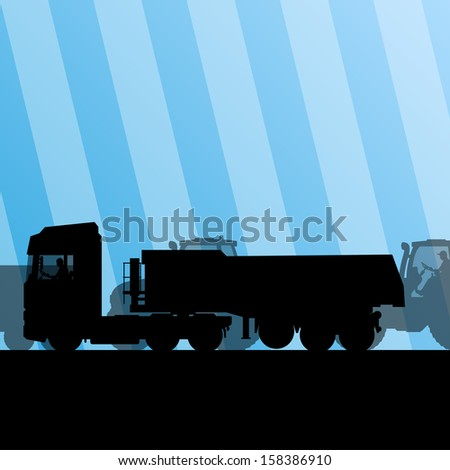 Heavy truck trailer and tractors at industrial road construction site vector background illustration