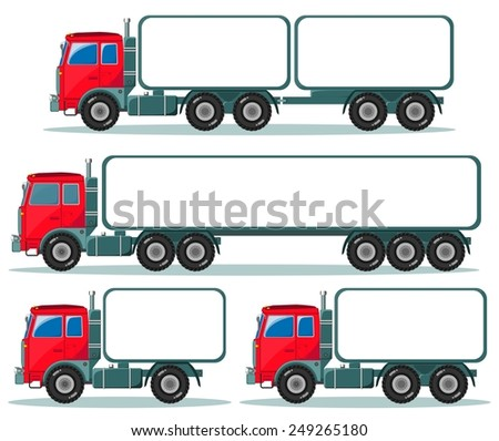 Heavy truck with space for text and ads, collection on the white background for use in presentations. Stock Vector illustration - stock vector