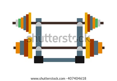 Heavy workout bodybuilding dumbbell weight and lifting dumbbell weight. Power iron dumbbell weight gym fitness equipment. Physical training gym. Dumbbell exercise weights gym fitness equipment vector.