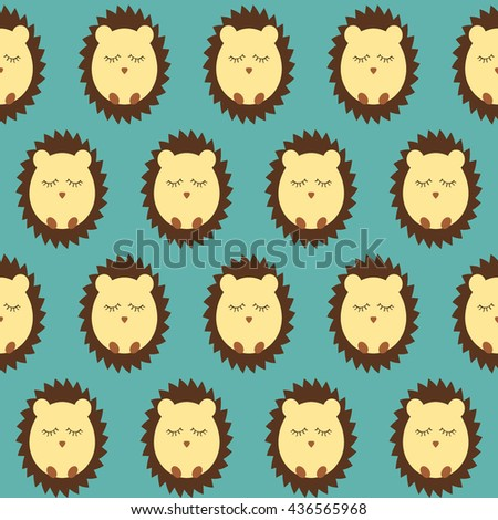 Hedgehog seamless pattern flat. blue background. vector illustration - stock vector
