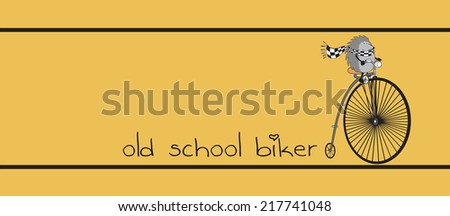 hedgehog wearing scarf and riding old bike vector illustration/old school biker - stock vector