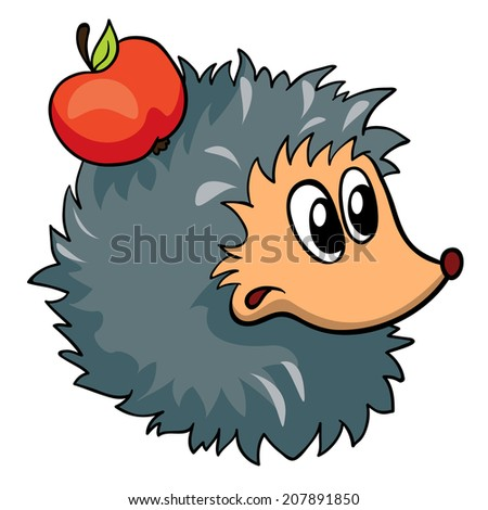 hedgehog with apple, vector illustration on white background - stock vector