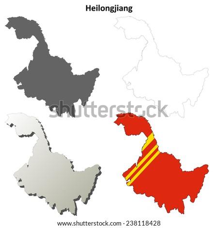 Heilongjiang blank outline map set - stock vector