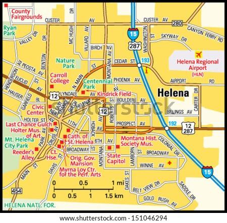 City map Helena Montana