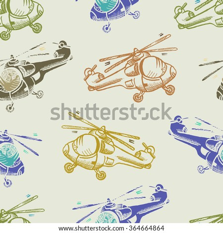 helicopter cartoon seamless pattern - stock vector