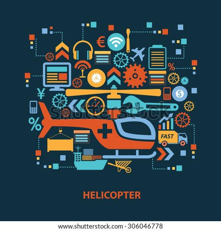 Helicopter concept design on dark background,clean vector - stock vector