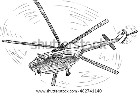 helicopter in the flight
