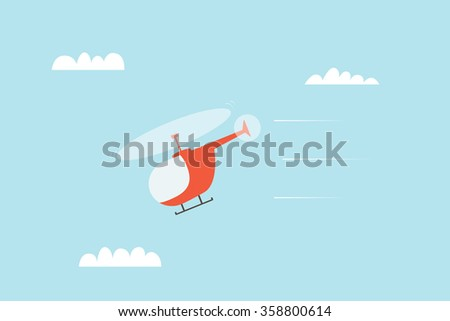 Helicopter in the sky - stock vector