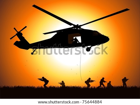 helicopter is dropping the troops - stock vector