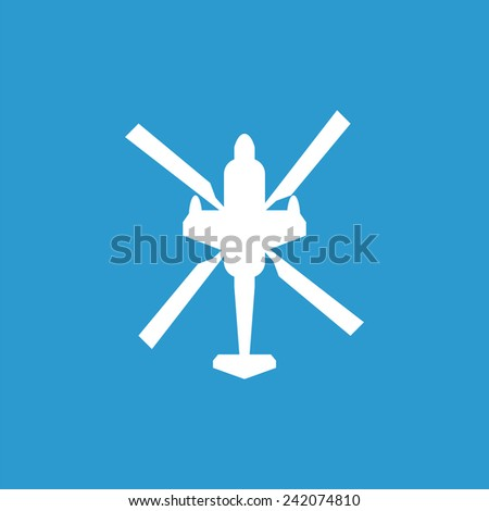 helicopter outline icon, isolated, white on the blue background. Exclusive Symbols