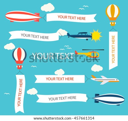 Helicopter,  planes, hot air balloon, airship, dirigible, different transport vehicles with horizontal and vertical banners set on blue sky background.  Place for your text. Vector illustration. - stock vector